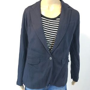 Navy Relaxed Terry Cloth Blazer NWT